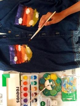 Melukis jaket jeans lawas agar tampak baru lagi, (dokpri)