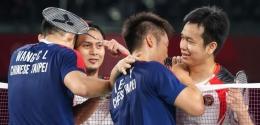 The Daddies usai menghadapi Lee/Wang di semi final Olimpiade Tokyo: badmintonindonesia.org