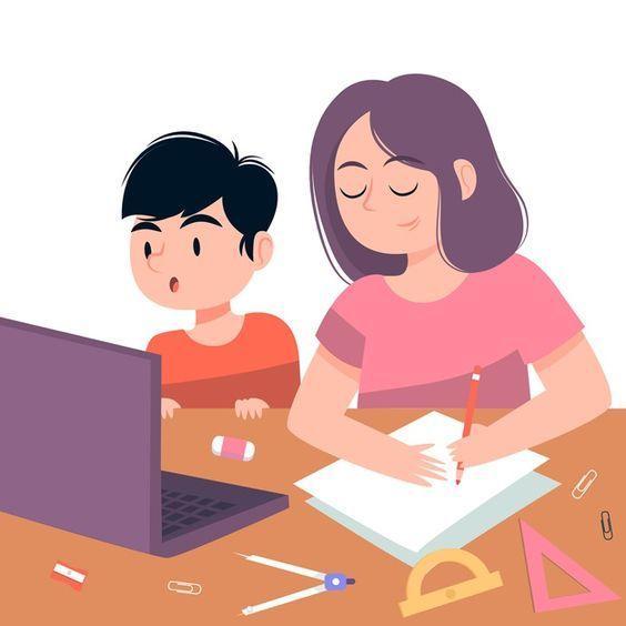 Ilustrasi bimbingan orangtua pada pembelajaran daring. Sumber : freepik.com