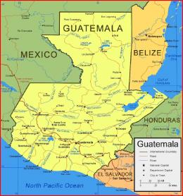 Peta Guatemala dengan penduduk sekitar 15 juta jiwa (2014): sejarahdunia.com