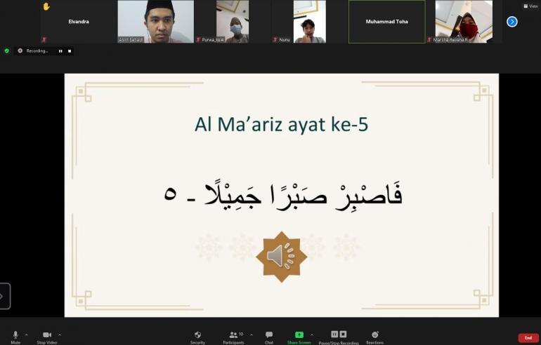 Kegiatan pembelajaran daring di Madrasah Al-Ikhlash melalui Zoom Meeting/dokpri