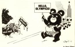 Kartun yang menggambarkan boikot di Olimpiade Moskwa. Sumber: Boris Efimov/ www.insidethegames.biz