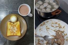 Sarapan kami yang selalu ada telor rebus, susu putih atau cokelat, dan roti. Hidangan pertama di saat isoman adalah membuat bakso