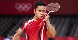 Tunggal putra Indonesia, Anthony Sinisuka Ginting, selangkah lagi ke final tunggal putra bulutangkis Olimpiade/Foto: olympics.com/Getty Images