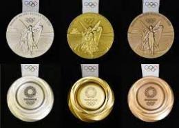 Medali Oilmpiade Tokyo tampak depan dan belalang. Sumber : kyodonews.net