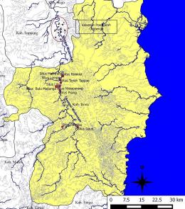 Ilustrasi Peta Sebaran Situs-situs di tepi aliran Sungai Walennae, Bone Barat. Sumber: Dokumentasi Balar Sulsel/Budianto Hakim, 2018