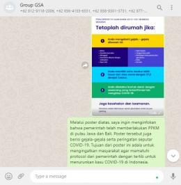 Penyebaran Poster PPKM dan Double Masking di WhatsApp Group Perumahan Griya Sekar Asri