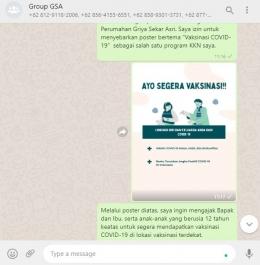 Penyebaran Poster Vaksinasi di WhatsApp Group Perumahan Griya Sekar Asri