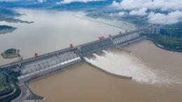 The Three Gorges dam is discharging flood. Yichang City, Hubei Province, China, July 2. (Costfoto/Barcroft Media via Getty Images)