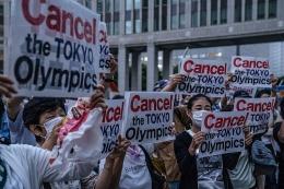 Penentang Olimpiade Tokyo 2020. Sumber: Carl Court /Getty/Time.com