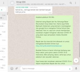 Penyebaran Booklet Online di WhatsApp Group Perumahan Griya Sekar Asri