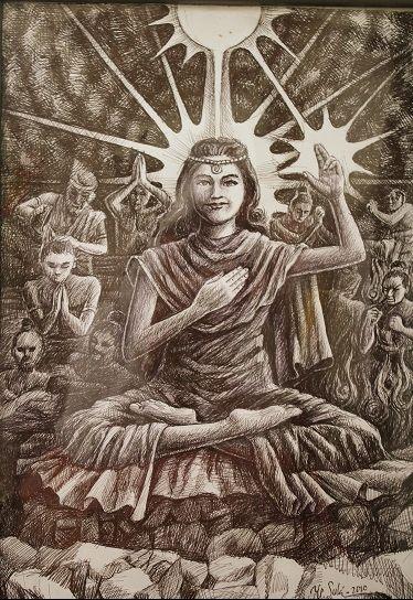 Semburat Putih Pelangi Kasih, Yoganidra 11 ( lukisan Bp Y.P.Sukiyanto )