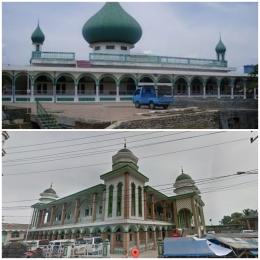 Potret Masjid Raya Miftahul Jannah sebelum dan sesudah direnovasi. (Google Map)