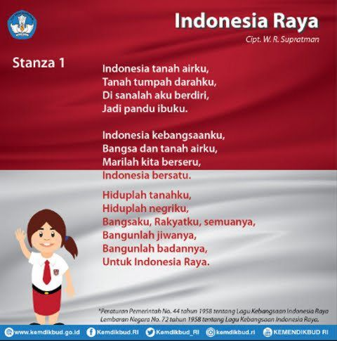 Lirik Lagu Indonesia Raya Foto: dok. Kemendikbud via kumparan.com