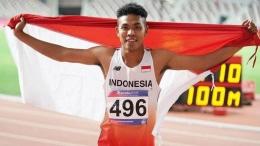 Potret Zohri setelah berhasil meraih medali perak di ajang Kejuaraan Atletik Asia 2019 di Doha, Qatar. (Sumber ilustrasi: indosport.com)