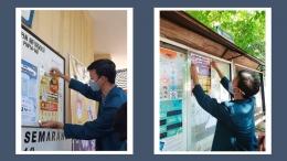 Gambar 5. Pemasangan poster di Kelurahan Gayamsari/dokpri
