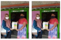 Penjelasan cara pembuatan handsanitizer dan handsoap melalui poster kepada perwakilan masyarakat Desa Kalen/dokpri