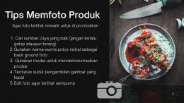Poster tips/cara memfoto produk sebagai sarana sosialiasi kepada warga secara online