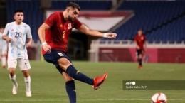 Penampilan Rafa Mir ketika Spanyol berhadapan dengan Argentina di Olimpiade Tokyo 2020 (sumber : tribunnews.com)