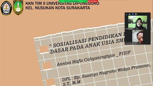 Gambar 1. Sosialisasi Pendidikan Dasar melalui Zoom Meeting (dokpri)
