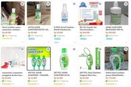 Harga hand sanitizer dipasaran melambung tinggi/Dokpri