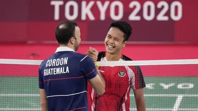 Kevin Cordon, atlet bulu tangkis Guatemala, bertemu Anthony Ginting dalam babak semifinal tunggal putra Olimpiade Tokyo 2020 (AP/ Dita Alangkara).