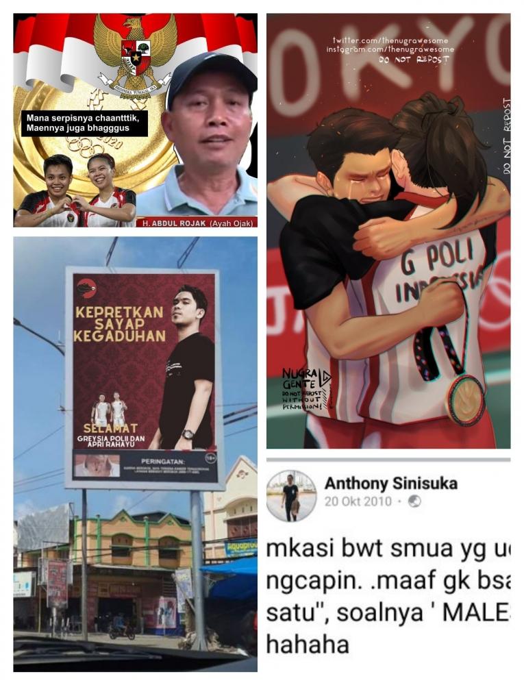 Unggahan Kreatif Warganet Mewarnai Kemenangan Tiga Pebulutangkis Indonesia dalam Olimpiade Tokyo 2020| Ki-Ka Sumber: Twitter @nickoakbar| Twitter @Adityatris|Twitter @TheNugrawesome|Twitter @snlimyy