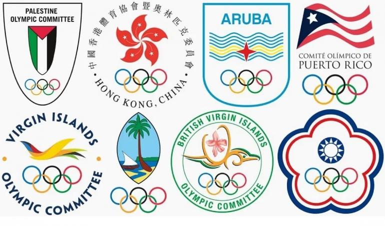Beberapa logo NOC dari 'negara' yg berstatus khusus. Sumber: www.qz.com via olympics.com