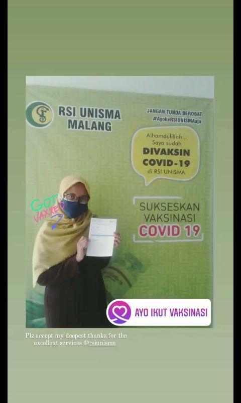 Saat aku ikut vaksinasi dosis 1 di RSI Unisma Malang/Dok. Pribadi