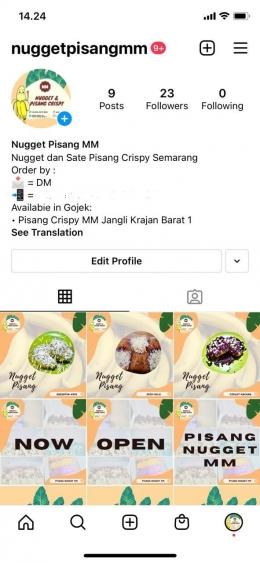 Akun Instagram Usaha Pisang Crispy (dokpri)
