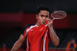 Pebulutangkis tunggal putra Indonesia, Anthony Sinisuka Ginting. Gambar: dok NOC Indonesia via kompas.com