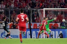 Asensio mencetak gol ke gawang Bayern Muenchen pada semifinal Liga Champions 2017/2018. Sumber: AFP/Javier Soriano