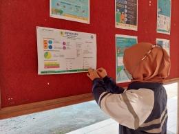 Gambar 2. Menempelkan Poster Infografis Potensi Desa di Balai Desa Saradan