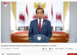 Konferensi Forum Rektor Indonesia, 27 Juli 2021. (Sumber gambar: Youtube)