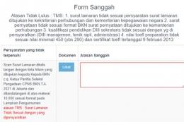 Form Masa Sanggah CPNS 2021. Tangkapan Layar portal SSCASN BKN