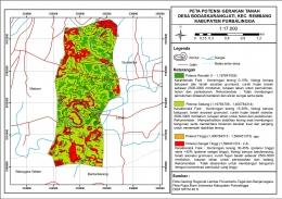 Gambar 2. Peta potensi gerakan tanah di Desa Bodaskarangjati (dokumentasi pribadi)