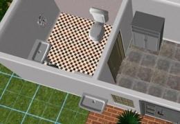 Tampak 3D Kamar Mandi Depan (Ruang Sterilisasi) Dan Wastafel di Sebelah Pintu Masuk (dokpri)