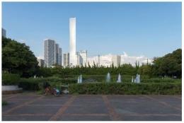 Taman di Desa Olimpik (atau juga kampong atlet), di pesisir pantai Harumi, di sekitarannya  www.tokyo20ty.com