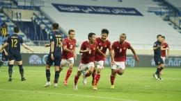 Evan Dimas merayakan gol ketika mereka bertemu Thailand di kualifikasi Piala Dunia Qatar 2022 di Dubai (Foto PSSI.org)