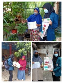 Sosialisasi dan pembagian Pestisida alami kulit bawang secara door to door (Dok. Pribadi)