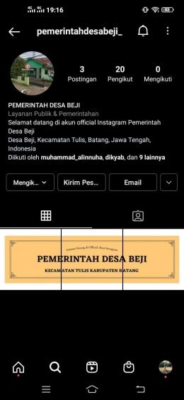 Akun official Instagram Pemerintah Desa Beji, Tulis, Batang/dokpri