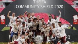 Arsenal merayakan kemenangan dalam Community Shield tahun 2020 (Foto The FA.com)