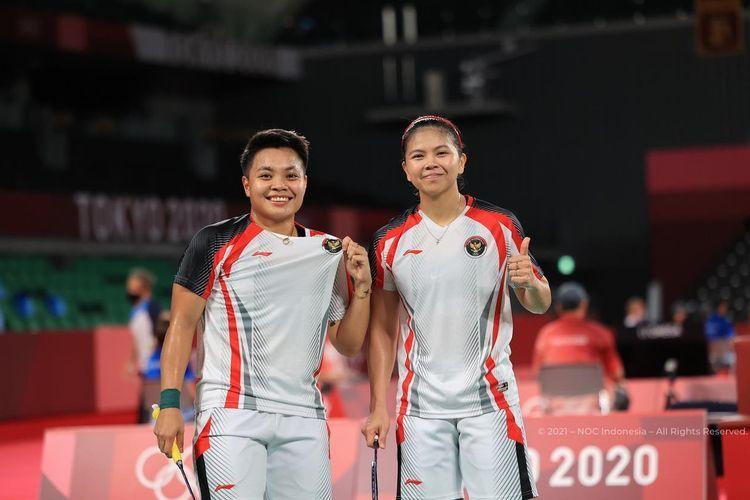 Ekspresi bahagia Greysia/Apriyani setelah menang di laga final olimpiade Tokyo 2020(DOK. NOC INDONESIA)