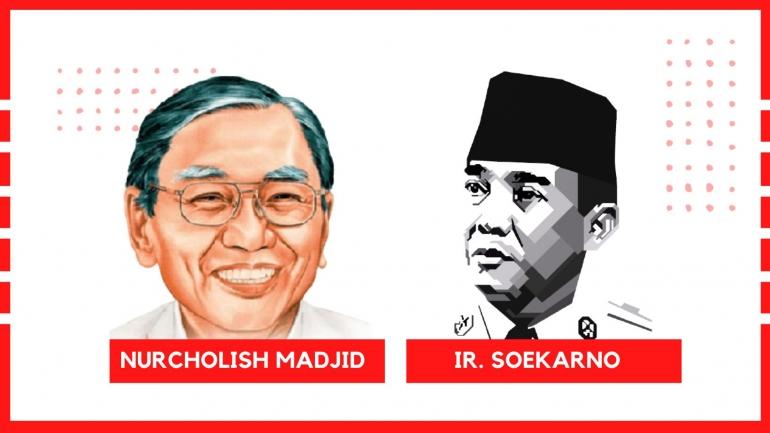 Ilustrasi Cak Nur dan Bung Karno, Vector: https://freepikpsd.com - Koleksi Pribadi