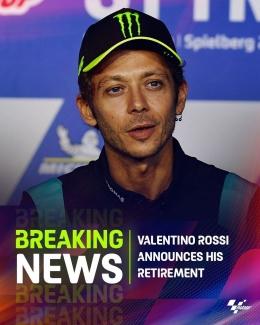 Valentino Rossi resmi Pensiun dari MotoGP / Instagram / @motogp