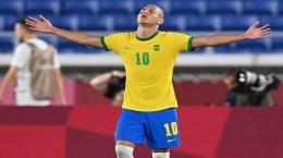 Penyerang timnas Brasil, Richarlison. Mampukah membawa Brasil menyabet medali emas sepak bola Olimpiade Tokyo? (sumber : banjarmasin.tribunnews.com)