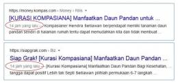 Pencarian di internet menunjukkan waktu yang sama, beda sumber penayangnya (gambar: dok. pribadi)