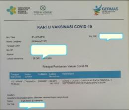 Kartu Vaksinasi Covid-19 (Dok.Pri. Siska Artati)