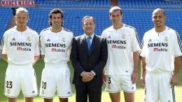 Presiden Real Madrid, Florentino Pérez (tengah), bersama Beckham (kiri) dan para pemain Los Galacticos (Sumber: liputan6.com)