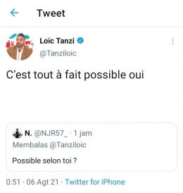Tangkapan layar cuitan jurnalis Loic Tanzi